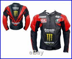 Hommes Moto Vestes Cuir Motard Coureur Noir Rouge Armure Protecteur Moto Sports