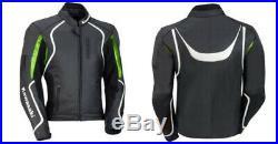 Hommes Moto Vestes Motard Courses Armure Rayure Blanche Vert Noir Sports Fermez