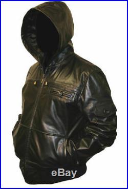 Hommes à Capuche Véritable Cuir Veste Blouson Manteau Noir ou Marron