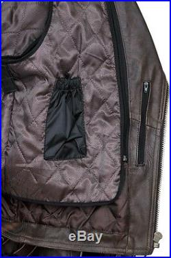 Hommes marron usé cuir Marlon Brando MOTO MOTARD protection veste