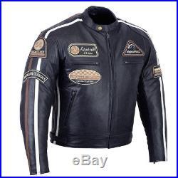 Hommes motocyclette Veste en cuir biker JACKE Blouson moto avec Protecteurs NEUF