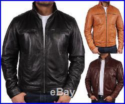 Hommes veste motard en cuir CUIR VESTE BLOUSON MANTEAU Hommes Cuir Motor veste