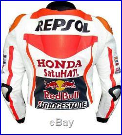 Honda Hommes Motor Veste En Cuir Moto Chaqueta De Cuero Motorrad Leder Jacke Ce
