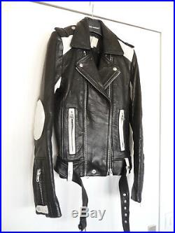 IRO veste perfecto SALLIE blouson cuir bicolore T. 0 / leather biker jacket XS