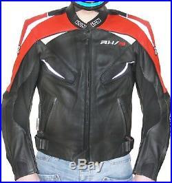 IXS RX 3 NOIR ROUGE VESTE EN CUIR pour Hommes Blouson Moto Sport et Tour Taille