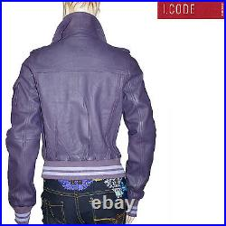 I. CODE by IKKS blouson court cuir violet parme