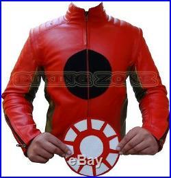 Iron Man Style Hommes Renfort Ce Démontable Logo Moto Veste en Cuir