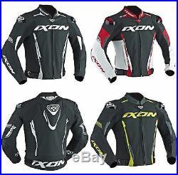 Ixon Vortex 2 Cuir Noir/Rouge/Jaune / Blanc Sport Veste Moto Certifié Ce