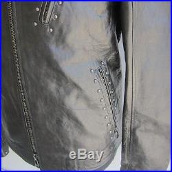 J-1222396 Neuf Belstaff Blouson Clous Noir Ru Veste Cuir Size 44