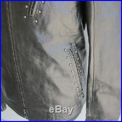 J-1223396 Neuf Belstaff Blouson Clous Noir Fermeture Éclair Veste Cuir Taille 46