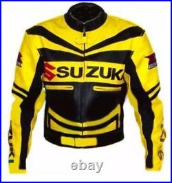 Jaune SUZUKI GSXR Veste en Cuir de Moto Hommes Courses Vestes de Motard en Cuir