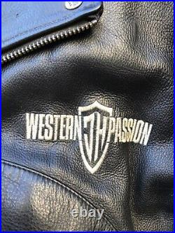 Johnny Hallyday WESTERN PASSION Perfecto cuir Tête d'Indien SUPERBE