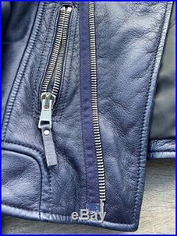 Joli Blouson Perfecto Biker Balenciaga T 36 Cuir Bleu Rare