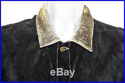 Joli blouson veste croute de veau et cuir vachette noir CHEVIGNON taille XL