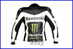 KAWASAKI Veste en Cuir de Motard Veste en Cuir de Moto Veste Motard en Cuir 48