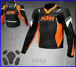 KTM Hommes Moto Veste en Cuir Courses MOTOGP Motard Blousons Cuir Armure CE