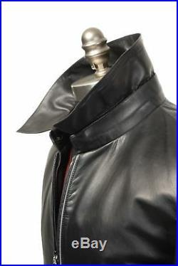 K Neuf avec Étiquettes Zilli France Qabala Cuir Noir Blouson Bomber Veste 50 M