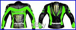 Kawasaki Ninja Hommes Veste En Cuir Giacca di pelle Moto Chaqueta de cuero Moto