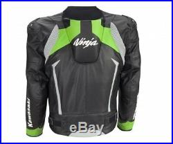 Kawasaki Ninja Veste en Cuir Noir /Vert Veste de Moto en Cuir Neuf