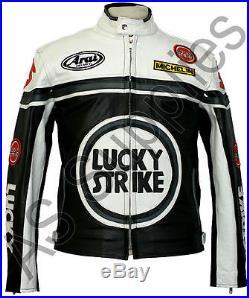LUCKY STRIKE Veste de Moto en Cuir Blouson Motard Noir / Blanc