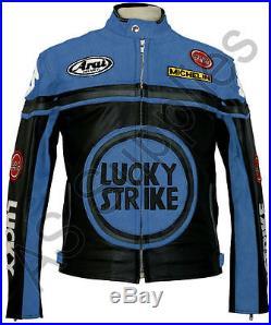 LUCKY STRIKE Veste de Moto en Cuir Blouson Motard Noir / Bleu