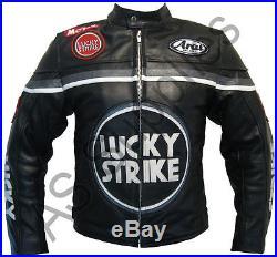 LUCKY STRIKE Veste de Moto en Cuir Blouson Motard Noir / Gris