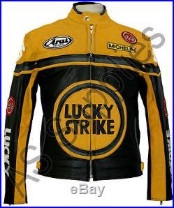 LUCKY STRIKE Veste de Moto en Cuir Blouson Motard Noir / Jaune