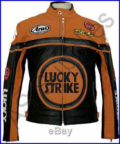 LUCKY STRIKE Veste de Moto en Cuir Blouson Motard Noir / Orange