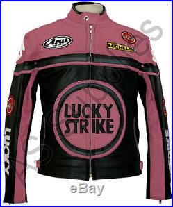 LUCKY STRIKE Veste de Moto en Cuir Blouson Motard Noir / Rose