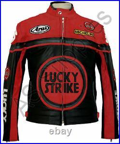 LUCKY STRIKE Veste de Moto en Cuir Blouson Motard Noir / Rouge