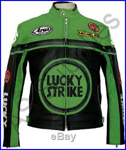 LUCKY STRIKE Veste de Moto en Cuir Blouson Motard Noir / Vert
