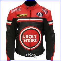 Lucky Strike Noir Vachette Véritable Cuir Motard Moto Veste pour Motocycliste