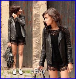 MAJE 595 Blouson veste perfecto cuir noir EXC. ETAT VGC Black leather jacket M