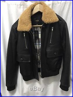 MAJE veste Manteau Perfecto Cuir Noire Style Aviateur Blouson Taille 40