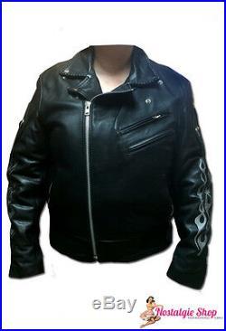 MARLON BRANDO Veste en cuir flammes motard de luxe Blouson Moto nue cuir qualité