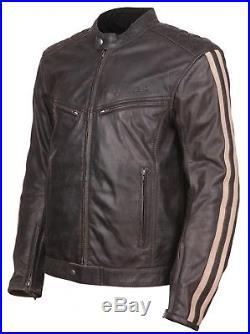 MODEKA Aile Hommes Blouson moto veste en cuir marron vintage rétro protecteurs