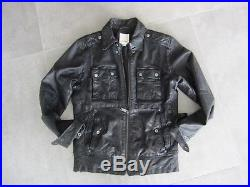 Magnifique blouson veste cuir Diesel noir style motard T. M 100% NEUF -Val 800