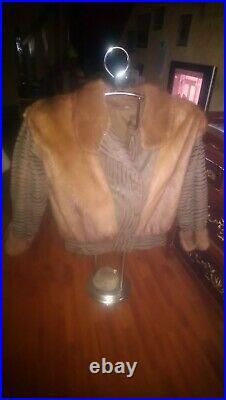Magnifique veste, blouson en cuir et vison, taille 42 /44