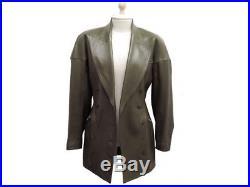 Manteau Alaia Taille 38 M Veste Longue En Cuir Kaki Blouson Coat Jacket 5000