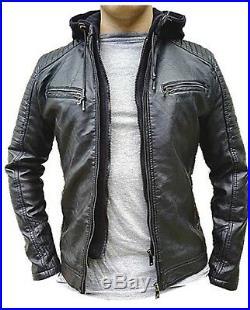 Manteau Homme Veste hiver simili cuir Blouson Jacket capuche fourrure LP-5538
