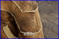 Manteau blouson veste en cuir de Mouton shearling original vintage 80 ans tg L
