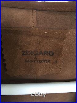 Manteau/blouson/veste/gilet En Cuir Daim Taille 36/38 Marron Zingaro St Tropez