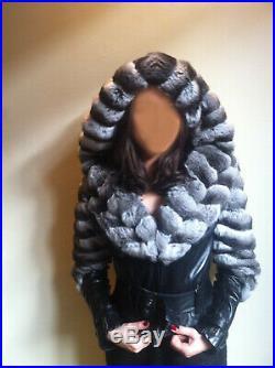 Marque JITROIS Magnifique blouson en cuir et chinchilla