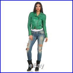 Matchless Veste en Cuir Femmes Wild One Blouson Vert 123103 Taille (42) S