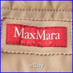 Max Mara Veste en Fourrure Gr. S Beige Femme Cuir Blouson Motard