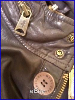 Mcs Marlboro Classics Veste Saharienne Blouson Cuir XL 50 Marron Leather Jacket