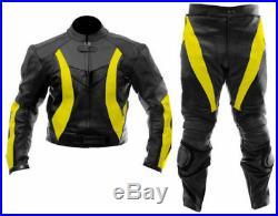 Mens Noir & Jaune Des Sports Moto Courses Cuir Costume Veste & Un Pantalon FR