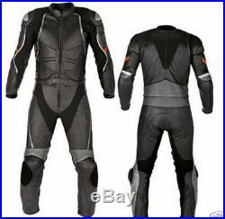 Mens Vintage Noir Des Sports Moto Courses Cuir Costume Veste & Un Pantalon FR