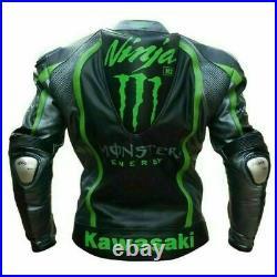 Monster Energy Costume En Cuir Moto Veste En Cuir Motard course Pantalon Leather