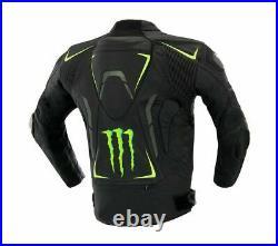 Monster Energy Hommes Moto Veste en Cuir Courses MOTOGP Motard Blousons Cuir CE